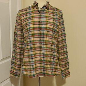 J.Crew popper shirt in ribbon plaid